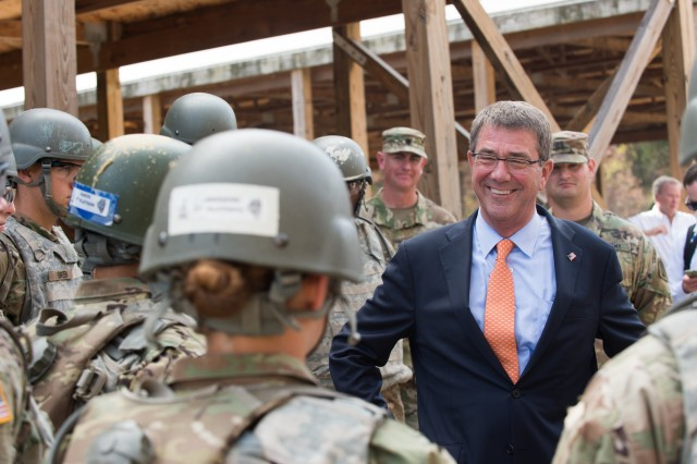 Secretary of Defense Ash Carter speaks to Soldiers who are completing their advanced individual training on Fort Leonard Wood, Mo., Nov. 2, 2016.