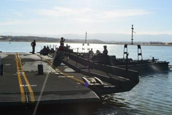 California National Guard bridges over Black Butte Lake waters