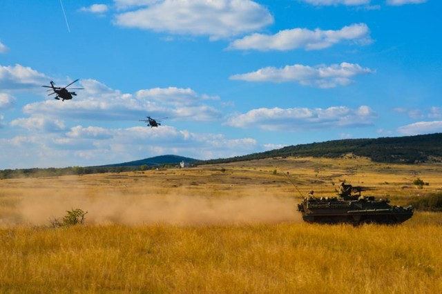 A Stryker from 4th Squadron, 2nd Cavalry Regiment manuevers during Brave Warrior 2016 at Bakony Combat Training Center, Hungary, Tuesday, Sept. 27, 2016.