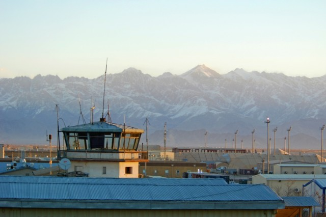 The former control tower at Bagram Air Field, Afghanistan, Feb. 15, 2014.