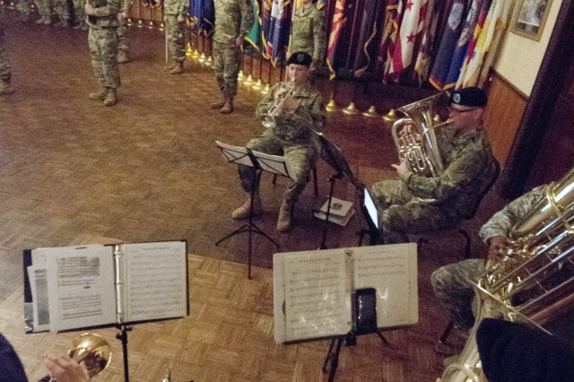 Members of the 282nd Army Band play the Army Song during the change of command ceremony for the Leader Training Brigade Jan. 6 in the Fort Jackson Officers Club. (U.S. Army photo by Robert Timmons, Fort Jackson Public Affairs/Released).