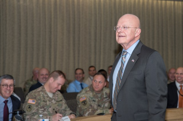 Director of National Intelligence James R. Clapper addresses the U.S. Army Intelligence and Security Command's (INSCOM) workforce at the Nolan Building, Jan. 4.  (U.S. Army photo by Jocelyn M. Broussard)