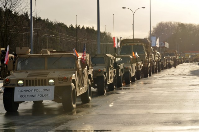 3rd Armored Brigade Combat Team, 4th Infantry Division stages their vehicles after officially crossing into Poland from Germany after conducting a three-day convoy, Jan. 12, for their nine-month deployment training alongside multinational partners. 3-4 ABCT's arrival marks the start of back-to-back rotations of armored brigades in Europe as part of Atlantic Resolve. This rotation will enhance deterrence capabilities in the region, improve the U.S. ability to respond to potential crises and defend allies and partners in the European community. U.S. forces will focus on strengthening capabilities and sustaining readiness through bilateral and multinational training and exercises. (Photo by Staff Sgt. Elizabeth Tarr)