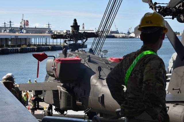 After months of planning and coordination with multiple DOD and civilian organizations, Soldiers of the Warrior Brigade began loading war fighting equipment destined for the Joint Readiness Training Center, Fort Polk, Louisiana onto the USNS Brittin.