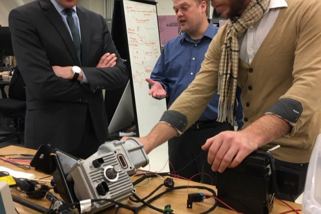 Secretary of the Army Eric Fanning visits University of Michigan's APRIL Robot Lab who partners with DARPA to explore autonomous robot technology in support of our Soldiers in the battlefield.