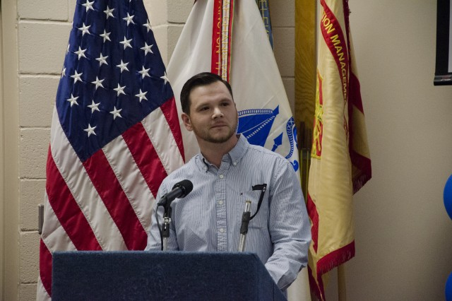 Sergeant Brian Myers addresses his classmates at Friday's Transition to Trade graduation at the Staff Sgt. Glenn H. English Jr. Army Education Center. Myers is part of the second class to complete the program designed to train transitioning Soldiers as plumbers, electricians and HVAC technicians.
