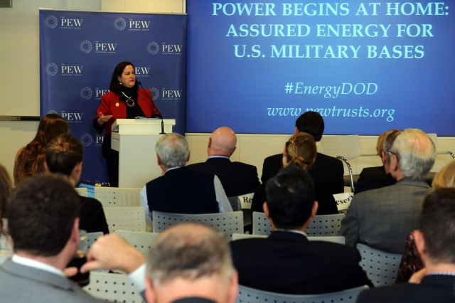 Katherine Hammack, assistant secretary of the Army for Installations, Energy & Environment, speaks at The Pew Charitable Trusts panel in Washington, D.C., Jan. 12, 2017.