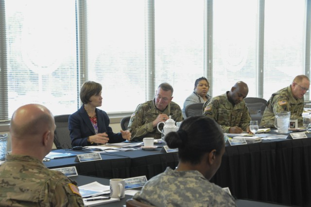 Ann Cataldo, the deputy assistant secretary for defense exports and cooperation, discusses pending changes throughout the Army's Security Assistance Enterprise during the Security Assistance Enterprise senior leader forum, Jan. 10-12. The event was hosted by the Security Assistance Command.