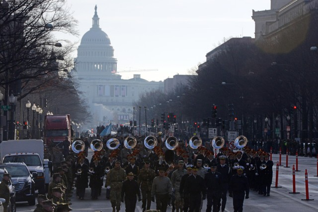 Soldiers march down Pennsylvania Ave. here, Jan. 15, 2017, in a dress rehearsal for the presidential inauguration, Jan. 20.