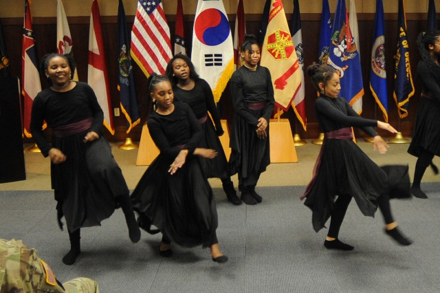 Dancers from the Burning Bush Gospel Service performed at the Jan. 12 commemoration of the life and legacy of Dr. Martin Luther King, Jr. at Camp Humphreys, Korea.