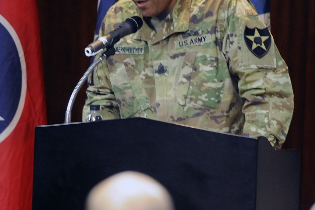 Command Sgt. Maj. Derrick Merriwether, the 2nd Combat Aviation Brigade command sergeant major, was the keynote speaker at the Jan. 12 Candlelight Vigil and March to honor Dr. Martin Luther King Jr. at Camp Humphreys, Korea.