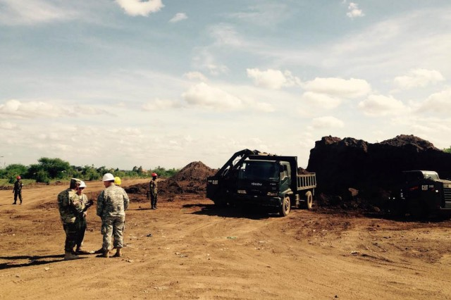 Engineers from the Massachusetts National Guard and their State Partnership Program counterparts from the Kenya Defence Forces Engineer Brigade conduct overseas deployment training Dec. 5-9, 2016, at Thika Barracks near Nairobi, Kenya. The training, which concludes in April, includes skill building and facilitating interoperability between the partner militaries. (U.S. National Guard photo)