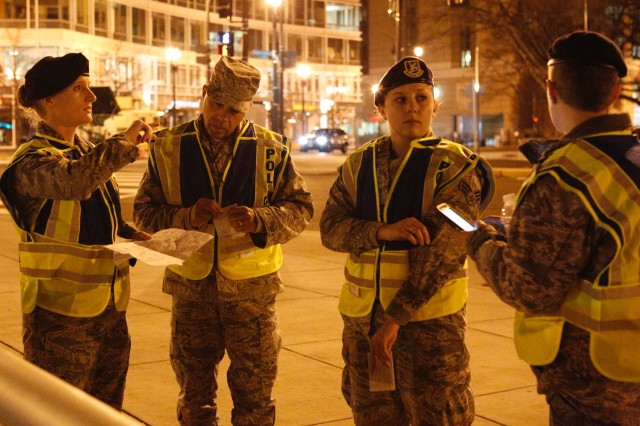 Virginia National Guard Airmen operate traffic control points Jan. 20, 2017, in Washington, D. C., in support of the 58th Presidential Inauguration. Nearly 300 Virginia National Guard Soldiers and Airmen are serving alongside a force of approximately 7,500 National Guard personnel from 44 states and three territories to support the event providing traffic control and crowd management, as well as communications, medical and chaplain support.
