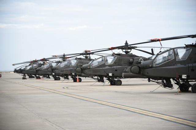 Twenty AH-64 Apache helicopters with the 1-501st waited at the Corpus Christi Army Depot before they could get loaded onboard a large vessel that could take them to Europe for Operation Atlantic Resolve.