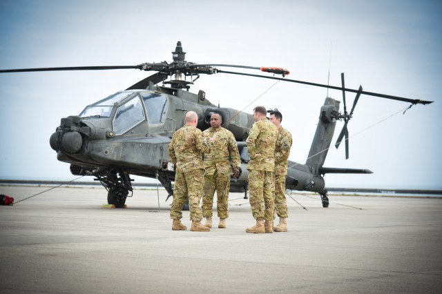 Aviators with the 1-501st strategize their movement plan from the Corpus Christi Army Depot to the Port of Corpus Christi where they will load each AH-64 Apache on a ship for Europe as part of Operation Atlantic Resolve.
