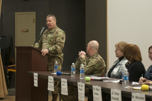 I Corps Deputy Commanding General, Maj. Gen. Mark Stammer, addresses the audience during a behavioral health and wellness panel discussion Jan. 18, 2016, at Joint Base Lewis-McChord, Washington. The 10-person panel, provided an opportunity to discuss some of the behavioral health challenges service members and veterans face while transitioning out of the military and how to connect them to resources. (U.S. Army photo by Sgt. Youtoy Martin, 5th Mobile Public Affairs Detachment)