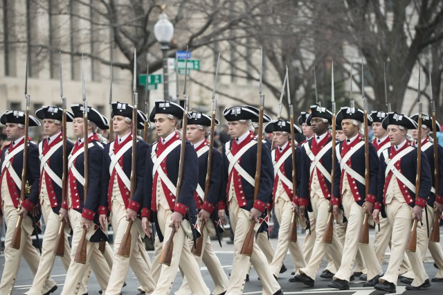 Members of the 3rd U.S. Infantry Regiment, or Old Guard, march during the inaugural parade along Pennsylvania Avenue in Washington, D.C., Jan. 20, 2017.