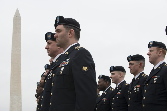 Soldiers from the National Guard in Washington, D.C., prepare to leave their holding area to march in the inaugural parade Jan. 20, 2017.