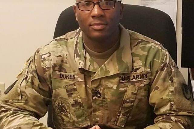 Sgt. First Class Lorenzo Dukes serves as the Aviation Command Logistic Center's non-commissioned officer in charge at Fort Rucker's Hanchey Army Airfield, where he manages an AMCOM command team that provides oversight for AH-64 Apache helicopter maintenance in support of the installation's training mission.
