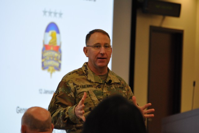 Gen. Robert B. Abrams, commanding general, U.S. Army Forces Command emphasizes a point during a January 12, 2017 meeting with the command's senior military and Army civilian staff leaders at Fort Bragg, N.C.