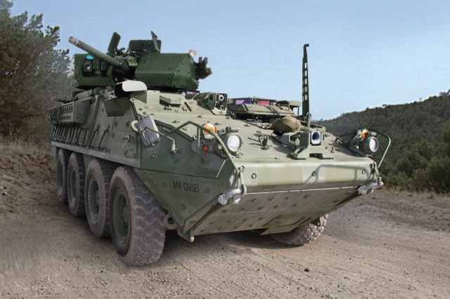 The first prototype Stryker Infantry Carrier Vehicle outfitted with a 30mm cannon was delivered to the Army in October.