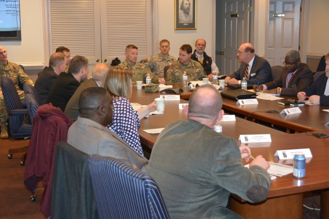 Maj. Gen. Bradley A. Becker, Commander, Joint Force Headquarters-National Capitol Region/ U.S. Army Military District of Washington, met with Lt. Col. Andrew Q. Jordan, Ft. A.P. Hill Garrison Commander along with garrison directors and joint service partners at the Installations Planning Board meeting on January 25, 2017.