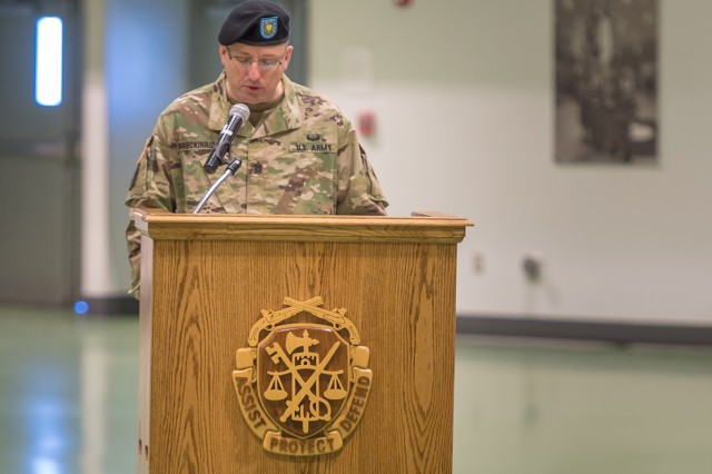 Command Sgt. Maj. James Breckinridge assumed responsibility as command sergeant major of the U.S. Army Military Police School during a change-of-responsibility ceremony Tuesday in Nutter Field House.