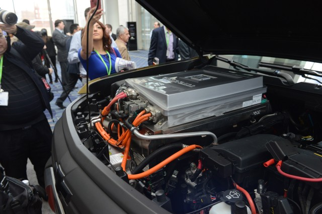 A look under the hood of the ZH2 hydrogen fuel cell electric vehicle was allowed at the Washington Auto Show, Jan. 26, 2017.