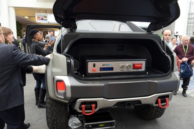 A look at the 120- and 240-volt outlets of the ZH2 hydrogen fuel cell electric vehicle was allowed at the Washington Auto Show, Jan. 26, 2017.