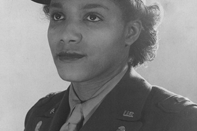 Second Officer (1st Lt.) Violet Hill poses after completing the first officer candidate school class for the Women's Army Auxiliary Corps at Fort Des Moines, Iowa, in August 1942. African-American women were allotted 40 slots in that first class, and they had to be well-educated and have professional experience. Later in the war, Hill served as a captain and commander of Company D, 6888th Central Postal Directory Battalion.