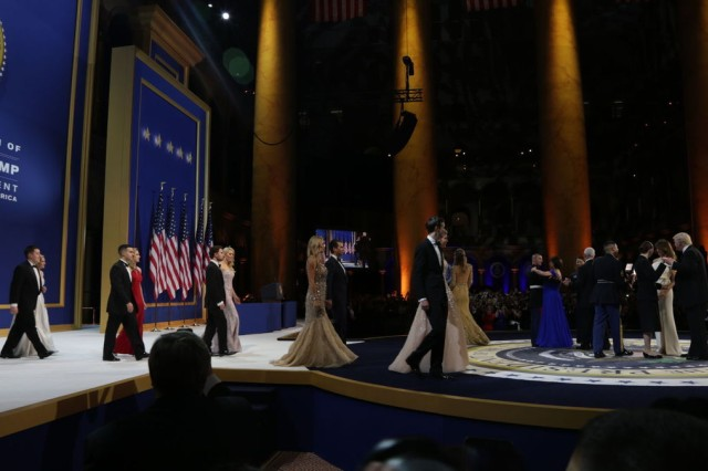 The Trump family enters the stage as the first dance begins with service members ruing the Salute to Our Armed Services Ball at the National Building Museum Jan. 20 in Washington, D.C.