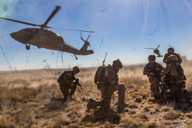 A tactical air control party from the 13th Air Support Operations Squadron at Fort Carson, Colorado, prepares for helicopter extraction from the 4th Combat Aviation Brigade, Nov. 10, 2016.