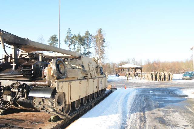 The first 19 heavy tanks from 1st Battalion, 66th Armor Regiment arrived Jan. 27 at U.S. Army Garrison Bavaria, Tower Barracks, in Grafenwoehr, Germany. The 1-66 Regiment arrived from Poland.