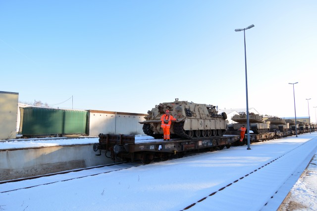 Tanks and troops with the 1-66 Regiment began arriving in Grafenwoehr, Germany, Jan. 27 in support of Operation Atlantic Resolve. The regiment is part of the 3rd Armored Brigade Combat Team, 4th Infantry Division, known as the Iron Brigade, out of Fort Carson, Colorado.