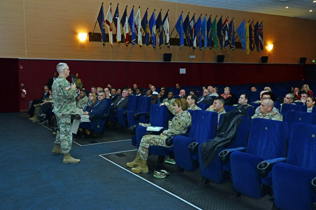 Brig. Gen. Paul H. Pardew, commanding general, Expeditionary Contracting Command, led a town hall forum with 414th Contracting Support Brigade, to provide his philosophy and address concerns that directly affect the contracting professionals at Caserma Ederle in Vicenza, Italy, Jan. 17, 2017.