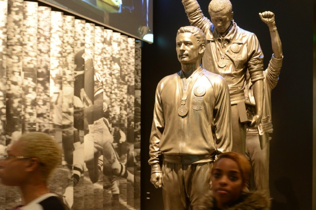 Many interesting and informative items are on display at the Smithsonian National Museum of African American Heritage and Culture on the Mall in Washington, D.C. Shown here is the widely-publicized 1968 Olympics Black Power salute by gold medalist Tommie Smith and bronze medalist John Carlos.
