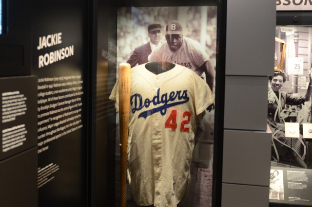 Jackie Robinson's uniform and photos are on display at the Smithsonian National Museum of African American Heritage and Culture on the Mall in Washington, D.C. Robinson was inducted into the Baseball Hall of Fame in 1962 and is a former U.S. Soldier.