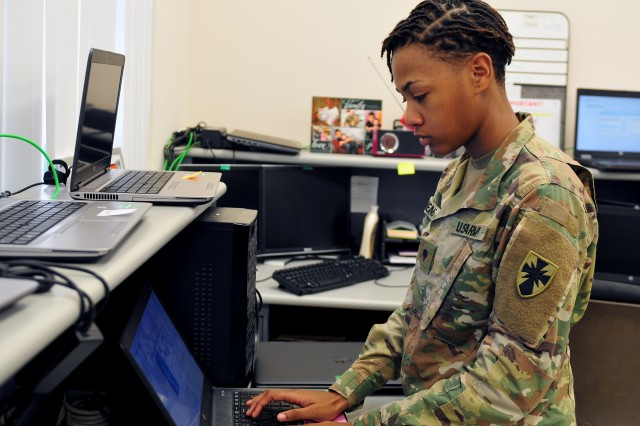 """It's never the same. There's always something new to learn and troubleshoot. I enjoy working with others in my MOS, trying to get a resolution for the customer. It can be frustrating, but it becomes easy when we work together.""-Spc. Ashley Owens, an information technology specialist with the 8th Theater Sustainment Command on why she joined the Army"