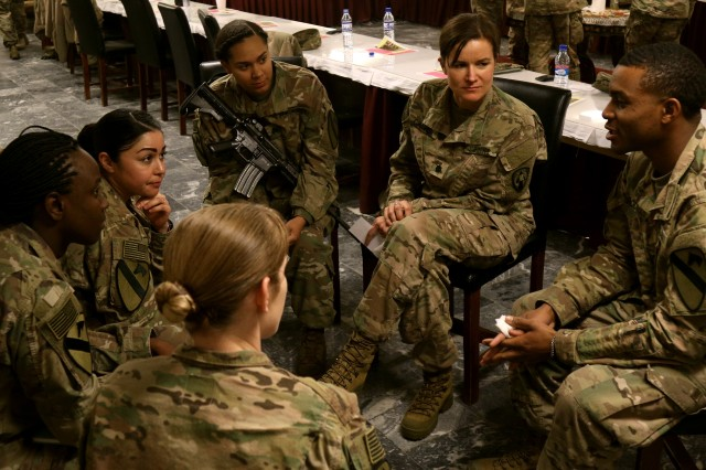 Soldiers take part in group exercises to better get to know each other at the Sisters in Arms Forum at Bagram Airfield, Afghanistan, Jan. 24. Command Sgt. Major Jill L. Crosby, command sergeant major, 1st Cavalry Division Resolute Support Sustainment Brigade, hosted the forum which was developed for female Soldiers to help enhance avenues of mentorship and empowerment in order to reach their full potential.