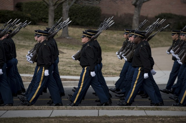 Soldiers from the 3rd U.S. Infantry Regiment (The Old Guard) march on a practice parade at Joint Base Myer-Henderson Hall, Virginia, on Jan. 19 to prepare for the upcoming Presidential Inauguration Parade in Washington, D.C. During rehearsals, U.S. Army Reserve Soldiers practiced with members of The Old Guard, the U.S. Army Field Band, West Point and the D.C. National Guard, which totaled approximately 500 service members and cadets. (U.S. Army Reserve photo by Master Sgt. Michel Sauret)