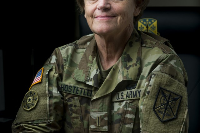 Chief Warrant Officer Officer 5 Mary Hostetler, command chief for the 200th Military Police Command, poses for a portrait at the command's headquarters in Fort Meade, Maryland, Oct. 16. Hostetler worked with the U.S. Army Reserve Command and the Military Police School the to launch an Army-Reserve-specific course for military police warrant officers, which helped graduate 35 additional reserve students in the last two years. (U.S. Army Reserve photo by Master Sgt. Michel Sauret)
