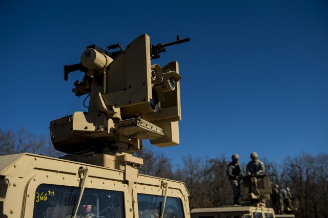 A Common Remotely Operated Weapon Station (CROWS) is mounted on top of a High Mobility Multipurpose Wheeled Vehicle during a fielding to U.S. Army Reserve units at Fort Chaffee, Arkansas, Jan. 23-27, as part of a four-part fielding process intended to field CROWS to more than 25 Army Reserve units this fiscal year. The CROWS is a remote-controlled system compatible with four major crew-serve weapons, and it was developed to keep gunners safe within the vehicle while engaging enemy targets.