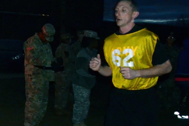 Sgt. 1st Class Jeremy Skates, from Fort Bragg, N.C. and representing XVIII Airborne Corps, approaches the finish line of the two-mile run event of the Army Physical Readiness Test conducted as a part of the 2017 FORSCOM Career Counselor of the Year Competition, Jan. 23, 2017, at Fort Bragg. The event is held annually with winners going on to the Department of the Army Competition in Washington, D.C. (Photo Credit: Sgt. Maj. Pleasant Lindsey, FORSCOM Public Affairs)