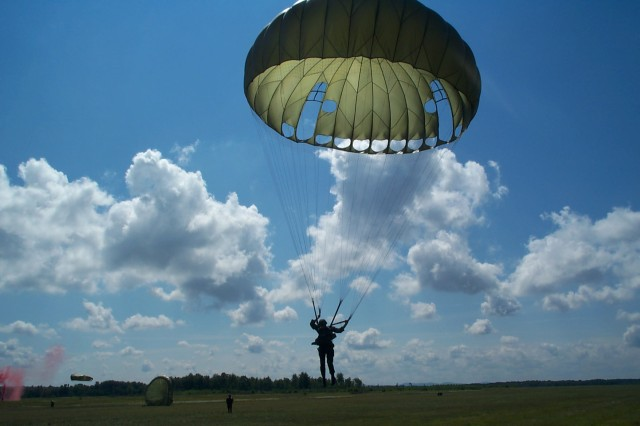 The MC1-1 featured a U-shaped hole designed to allow Soldiers to maneuver in midair, and was hailed as the biggest milestone in decades for airborne operations. Excitement over the long-expected innovation pushed the program forward despite the problems shown in operational testing: The chutes tended to get tangled up, leaving troopers dangling from a fellow troopers' chute, in the least-worst outcome. (U.S. Army photo)