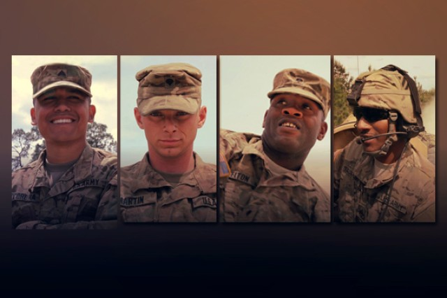 "The 3rd Infantry Division's premier tank crew, chosen to represent the ""Rock of the Marne"" at the 2016 Sullivan Cup competition, is (left to right): Sgt. Sgt. Cy Corona, gunner; Spc. Sean Martin, driver; Spc. Dante Felton, loader; and Staff Sgt. Justin Fauntleroy, commander."