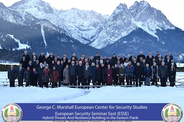 More than 60 participants from 26 partner nations completed the European Security Seminar - East Jan. 27 at the George C. Marshall European Center for Security Studies in Garmisch-Partenkirchen, Germany.  (Marshall Center photo by U.S. Army Staff Sgt. Amanda Moncada)