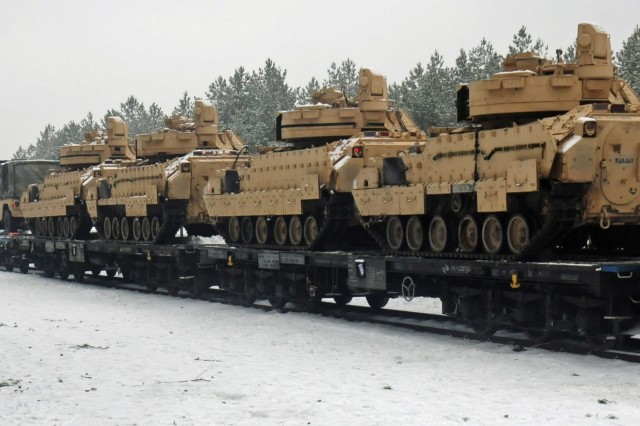 TRZBIEN, Poland - M1A2 Abrams tanks belonging to Charlie Company, 1st Battalion, 68th Armored Regiment, 3rd Armored Brigade Combat Team, 4th Infantry Division have been loaded onto a flatcar railway Jan. 31, 2017. The vehicles will be shipped to Estonia to be used by the Soldiers as they conduct training in Eastern Europe as part of Operation Atlantic Resolve. Rotating U.S.-based units through the European theater on a heel-to-toe rotation exercises our ability to assemble forces quickly, familiarizes Soldiers with their multinational counterparts while in a complex security environment and demonstrates deterrence.
