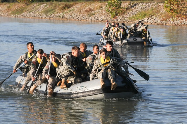 Cadets use teamwork to complete the waterborne operations event as part of the 1st Brigade Ranger Challenge held at Fort Knox, Ky. Oct. 22, 2016.