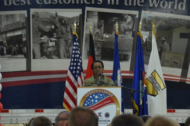 Col. Karen Fleming, Army & Air Force Exchange Service deputy director for Exchange Logistics, provides opening remarks at the grand opening of the new AAFES distribution center at the Germersheim Army Depot Feb. 1. The new distribution center is responsible for shipping beverages, boxed food, appliances and more to Exchange main stores and Express locations throughout Europe, Southwest Asia and contingency locations.