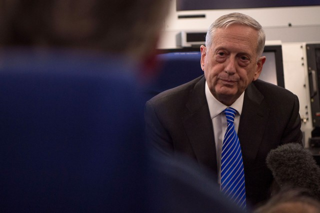 Secretary of Defense Jim Mattis answers questions from the press shortly before arriving in South Korea, Feb. 2, 2017.